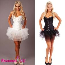 Burlesque Corset Angel Lace up G String Tutu Skirt Petticoat Satin Bustier Dress