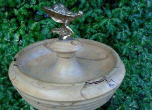 Spirit of Ecstasy brass bronze fruitwood bowl dish art deco bust Rolls-Royce car