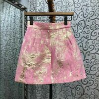 pink gold floral foil print detail mini skirt a-line tailored cut skirt