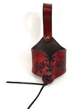 Dark Red Axe Leather Weapon Horn Holder Belt Hanger Frog Ranger Hand Made LARP