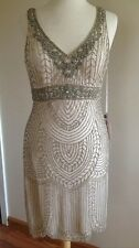 Size 8 *  SUE WONG Champagne Beaded Wedding Bridal Cocktail Evening Party Dress