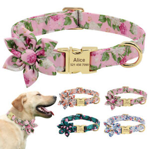 Flower Studded Personalised Dog Collar Floral Pet Cat Girl Dogs ID Name Engraved