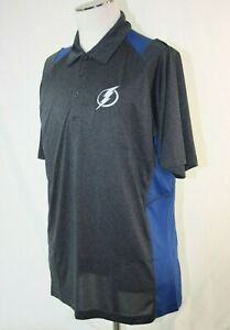 Tampa Bay Lightning Golf Polo Shirt Mens Large Dri-Fit Style Blue Gray