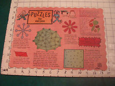 vintage Unused Placemat: PUZZLES for EVERYONE