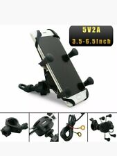 Universal Motorcycle Mobile Phone Holder Motorbike X Grip Clamp Mount USB Charge