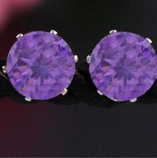 Chic Women Lady Crystal Rhinestone Purple Ear Stud Earrings Jewelry 1 Pair