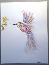 Peinture Dessin Colibri Multicolore Fleurs Aquarelle Encre de Chine Papier Dalbe