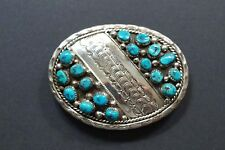 STUNNING KAY BEGAY-ROGERS NAVAJO STERLING TURQUOISE BELT BUCKLE  A475