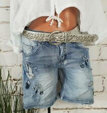 NEU ITALY STRETCH JEANS SHORTS HOT PANTS COOL STICKEREI & STRASS WASHED L 40 42