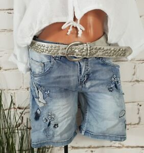 NEU ITALY STRETCH JEANS SHORTS HOT PANTS COOL STICKEREI & STRASS WASHED M 38 40