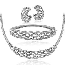 0.75 Ct TDW Diamond Weave Omega Necklace, Bracelet, Earrings Set