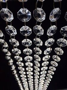 Clear 33ft K9 Crystal Garland Beaded Trim Clear Crystal Bead Garland Octagon Prism Bead String Chandelier Hanging for Wedding Home DIY Craft Jewelry Party Christmas Tree Decoration