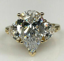 4.03Ct Pear cut Three Stone Diamond Engagement Ring Solid 14k Yellow Gold Finish