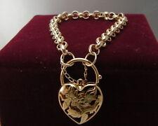 14ct 9ct Yellow gold GF Heart Padlock Curb Link Charm Women's bracelet 21-23cm