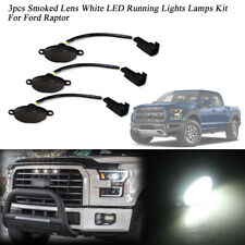 3pcs Smoked 12-SMD White LED Front Grille Running Marker Lights For Ford Raptor