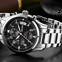 Herren Luxus Edelstahlband Analog Quarz Armbanduhr mit Silber Zifferblatt