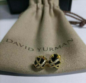 10mm David Yurman Cable Wrap Earrings with Black Onyx and Diamonds
