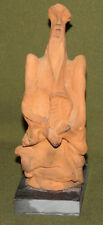 Vintage abstract hand made redware pottery statuette