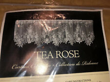 "New Heritage lace Tea Rose Tier 60"" Length x 30"" Drop Floral Color White"