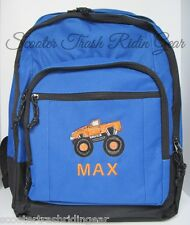 Personalized Monster Truck Backpack Book Bag royal red charcoal monogram jam NEW