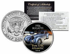 1936 BUGATTI *Expensive Auction Cars* JFK Half Dollar US Coin TYPE 57SC ATLANTIC