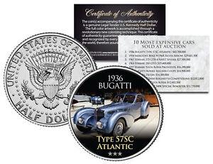 1936 BUGATTI *Expensive Auction Cars* JFK Half Dollar US Coin TYPE 57SC ATLANTIC