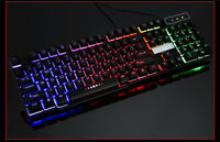 RGB LED Gaming Keyboard LED Backlit USB Wired Rainbow Gaming Keyboard+Mouse NEW