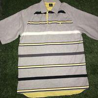 Jordan Mens Polo Shirt Striped Grey Yellow Black SIZE XL Jumpman