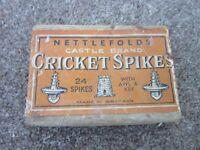 Cricket Spikes Vintage Nettlefolds Castle Brand with original contents