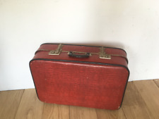 Vintage 1960s Medium Size Hard Case Suitcase in Bright Red -  Luggage / Storage