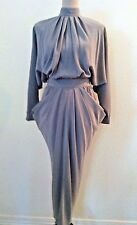 Vintage 70s Lorraine Beauchamp dress gray party chic avante gard retro 30's siz