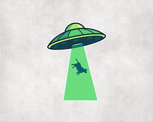 2 x Alien UFO Abduction Sticker Car Bike iPad Helmet Laptop Decals Stickers
