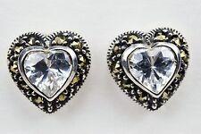 Vintage Judith Jack 925 Sterling Silver Heart CZ Marcasite Stud Earrings