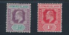 Leeward Islands (1902-1911) #20 &  #43; EDWARD VII 1/2p & 1p; MH; CV $21