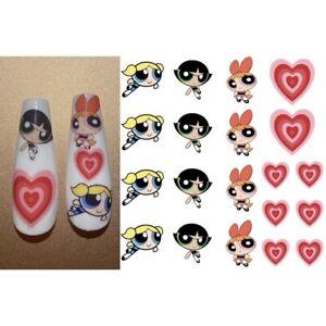 Waterslide Nail Decal Stickers Powerpuff Girls Cartoon Girls Power Puff Girls