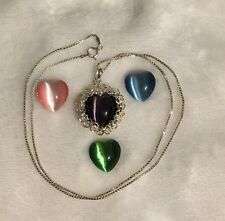 INTERCHANGEABLE GLASS HEART W/ 925 PENDANT And STERLING SILVER Chain