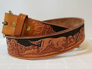 "Looper Hand Tooled Men's Leather Belt 36"" Hunting Dog Scene 1.5"" Wide Western"