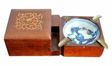 Encrier de poche céramique blanc bleu fin XIXème