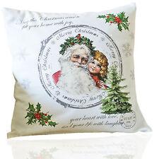 Kissenhülle 40x40 Weihnachtsmann mit Kind Nostalgie Weihnachten Winter Vintage