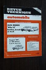 REVUE TECHNIQUE AUTOMOBILE JANVIER 1985 N°451 ALFA ROMEO 33-PEUGEOT 305