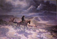 OLAF WIEGHORST  L E Signed Print  Cowboys  Driving Cattle Title is  Range Herd