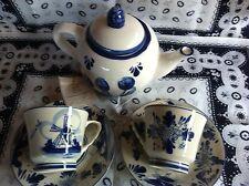 Delft Blue Porcelain Hand painted  Teapot & 2 tea cups & Saucer