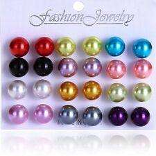 Perlas Pendientes De Botón Set 10 mm ø 12 Pares colores Bolas artificiales