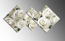 LARGE CREAM WHITE CANVAS ROSES FLORAL WALL ART PICTURE DIAMOND 4 PANEL 148cm