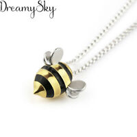 Bee Pendant Necklace 925 Sterling Silver Jewelry Korean Fashion Cute Exquisite