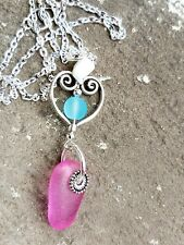 pink sea glass pendant necklace