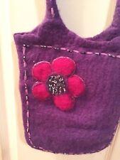 Felted 100% Wool Purple Purse Shoulder Bag Flower Beaded Trim UTTAM London NEPAL