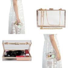Women Transparent Clear See Through Box Clutch Acrylic Purse Handbag Cross Body