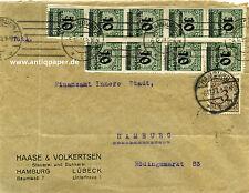 Brief MiF Übergangsfrankatur Infla Fa. Haase & Volkertsen Hamburg innerorts 1923
