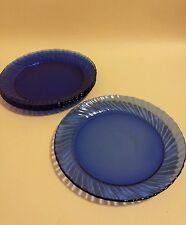 4 x arcoroc mid century french cobalt blue glass plates 7 3/4 inch